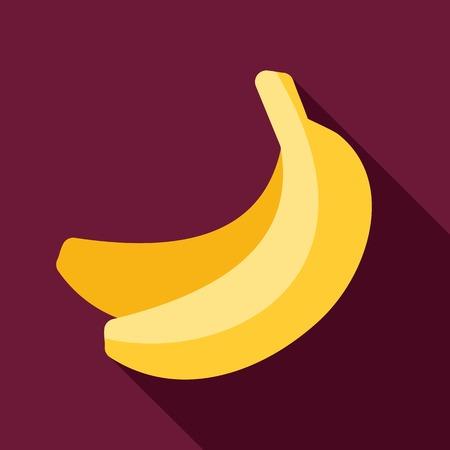 banane: Banana ic�ne plat avec ombre Illustration