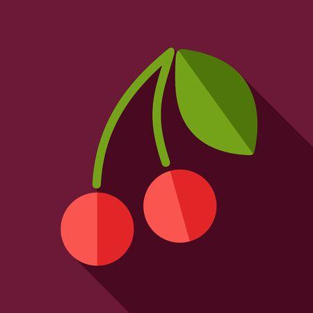cereza: Cereza icono plana con una larga sombra, eps 10