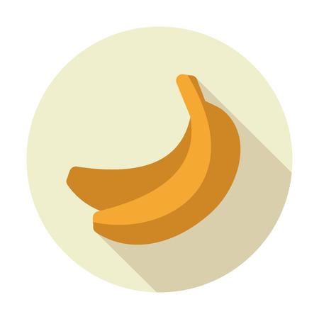 eating banana: Banana flat icon with long shadow Illustration