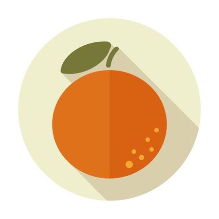 grapefruit juice: Orange flat icon with long shadow