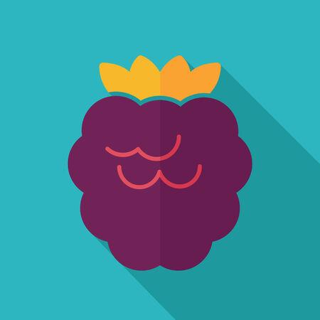 bramble: Raspberry flat icon with long shadow