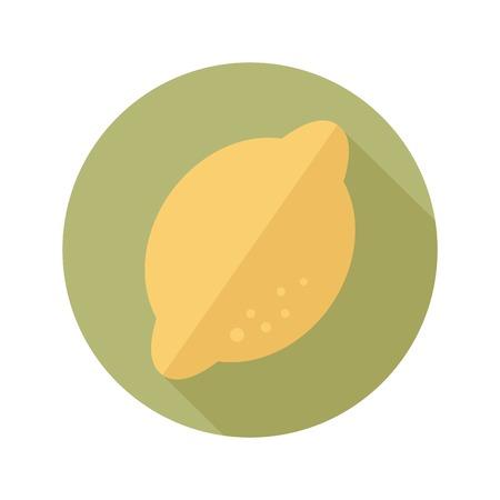 lemon juice: Lemon flat icon with long shadow