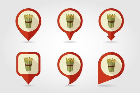 asparagus: Asparagus flat icon with long shadow Illustration