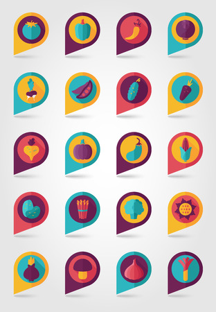 Vegetable mapping pins icons with long shadow Illustration