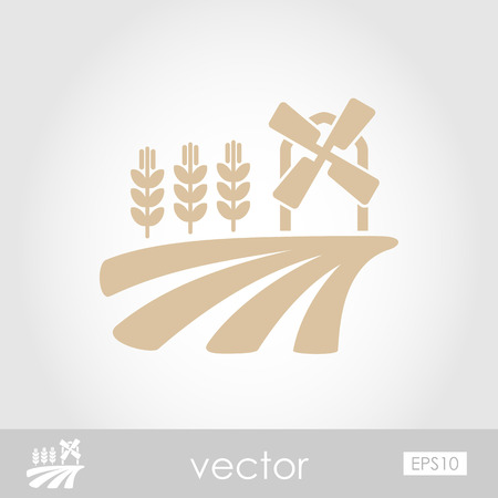 traditional windmill: Field with a mill and wheat vector icon