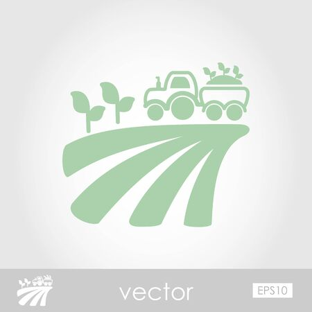 Tractor on field harvest seedling vector icon