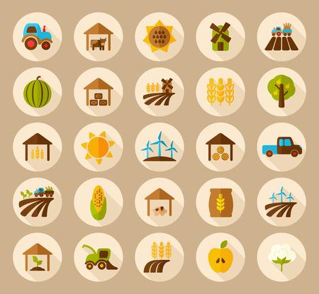 pigsty: Farm Field flat icon with long shadow Illustration