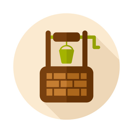 Water Well flat icon with long shadow