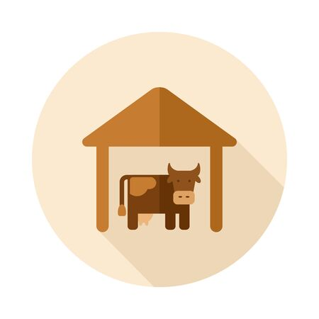 wood agricultural: Cowshed flat icon with long shadow