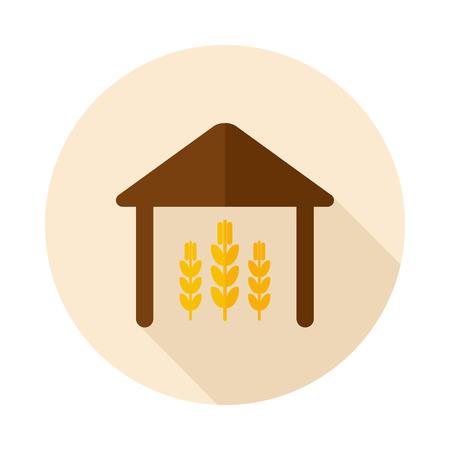 granary: Barn flat icon with long shadow