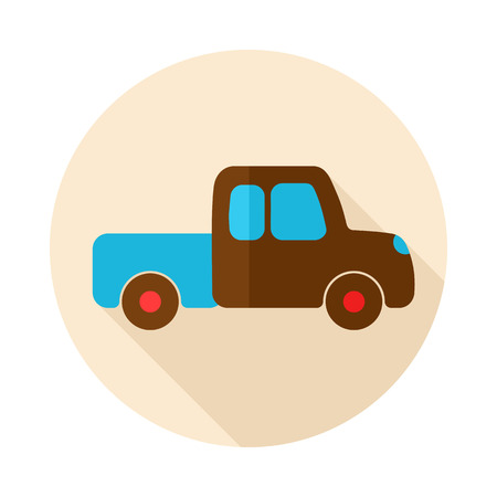 pickup: Pickup truck flat icon with long shadow Illustration