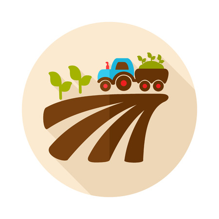 Tractor on field harvest seedling flat icon with long shadow Illustration