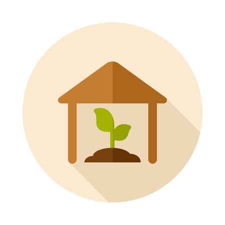 granary: Greenhouse flat icon with long shadow