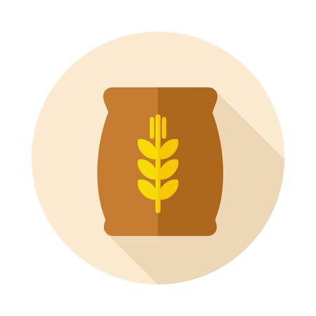 burlap bag: Sack of grain flat icon with long shadow