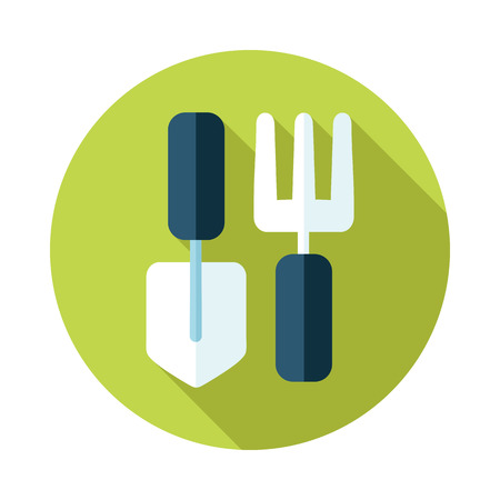 Garden fork, garden shovel, pitchfork, garden tool flat icon with long shadow
