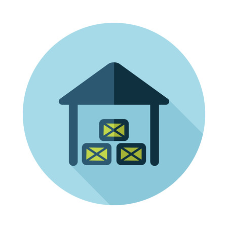 Shed flat icon with long shadow Illustration