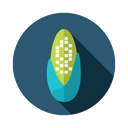 corncob: Corncob flat icon with long shadow