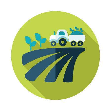 seedling: Tractor on field harvest seedling flat icon with long shadow Illustration