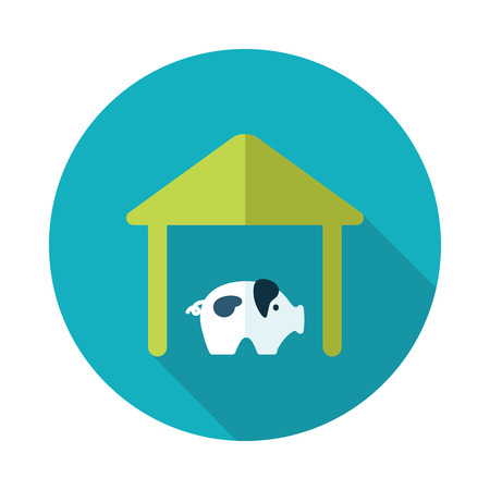 pigsty: Pigsty flat icon with long shadow