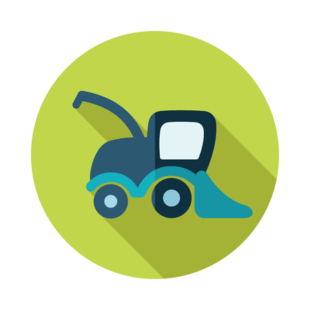 combine: Combine harvester flat icon with long shadow