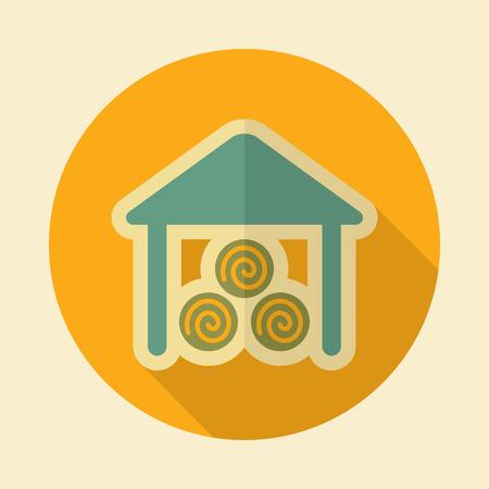 granary: Capannone icona retr� piatta con una lunga ombra Vettoriali
