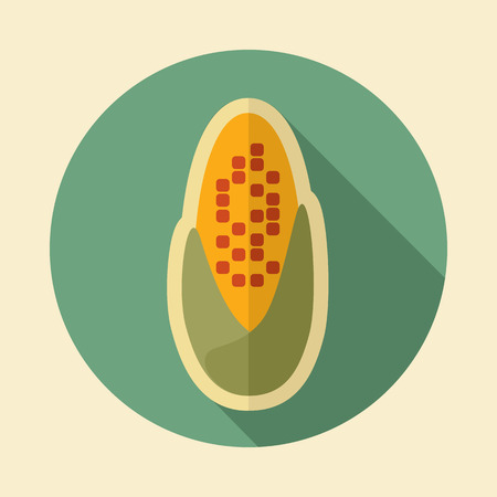 corncob: Corncob retro flat icon with long shadow