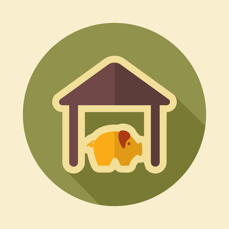 pigsty: Pigsty retro flat icon with long shadow