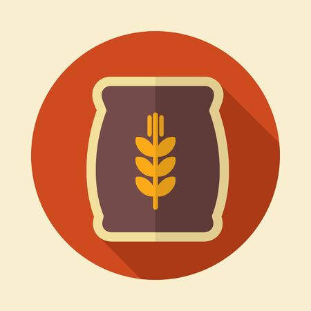 burlap bag: Sack of grain retro flat icon with long shadow