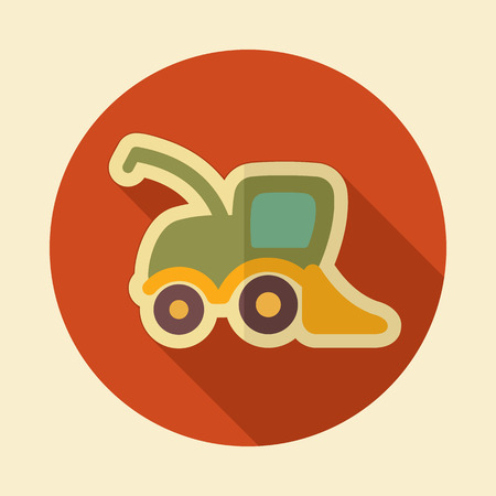 combine: Combine harvester retro flat icon with long shadow Illustration