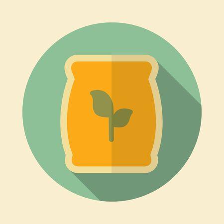 bag of soil: Fertilizer retro flat icon with long shadow Present By Green Nitrogen, Potassium, Phosphorus and Leaf Sack