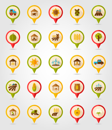 grain fields: Farm Field flat mapping pin icon with long shadow Illustration