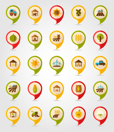 pigsty: Farm Field flat mapping pin icon with long shadow Illustration