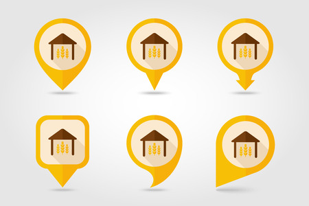 pavilion: Barn flat mapping pin icon with long shadow Illustration