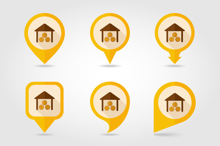 shed: Shed flat mapping pin icon with long shadow Illustration