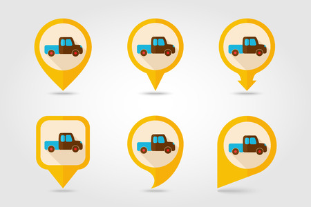 pickup: Pickup truck flat mapping pin icon with long shadow