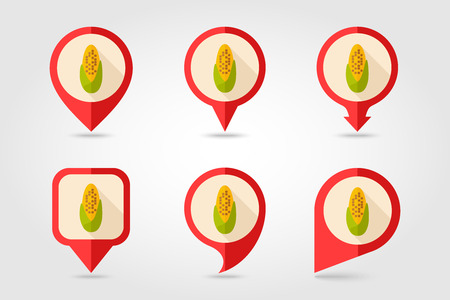 corncob: Corncob flat mapping pin icon with long shadow