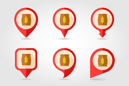 burlap bag: Sack of grain flat mapping pin icon with long shadow