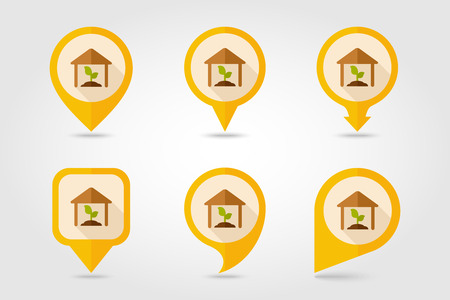 granary: Greenhouse flat mapping pin icon with long shadow Illustration