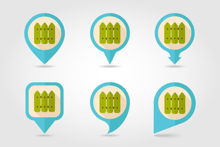 Fence flat mapping pin icon with long shadow Illustration