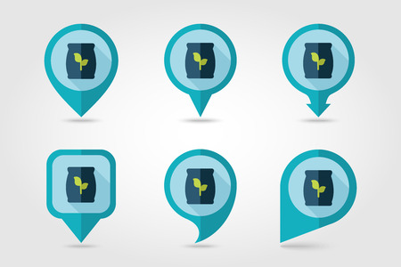 potassium: Fertilizer flat mapping pin icon with long shadow Illustration