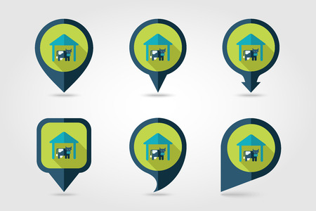 granary: Cowshed flat mapping pin icon with long shadow Illustration