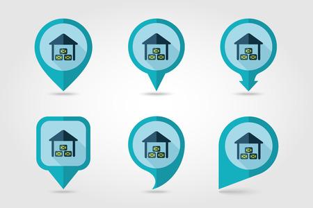 granary: Capannone icona piatto pin mappatura con una lunga ombra
