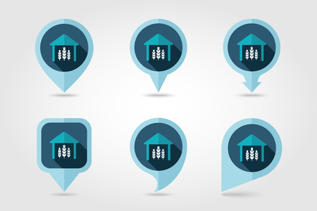 granary: Barn flat mapping pin icon with long shadow Illustration