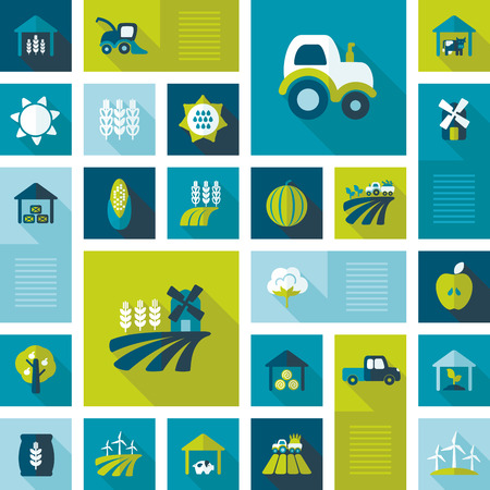 pigsty: Abstract vector collection of colorful flat Farm Field icons with long shadow. Design elements for mobile and web applications