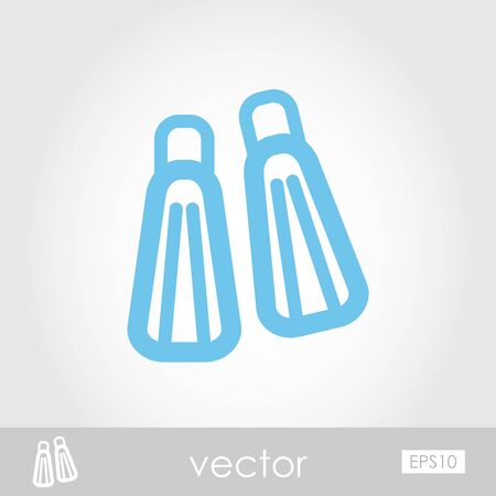flippers: Flippers vector icon outline silhouette, eps 10