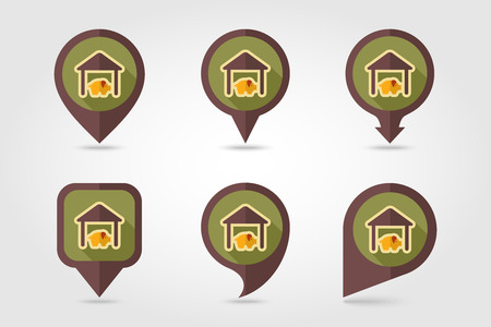 pigsty: Pigsty flat mapping pin icon with long shadow