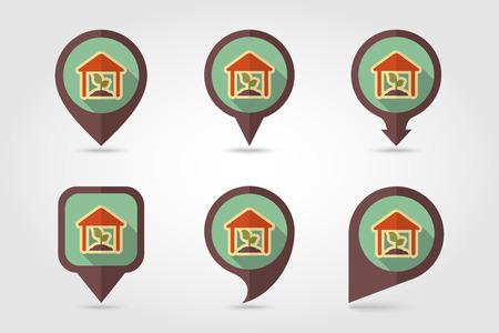 granary: Icona Greenhouse piatta pin mappatura con una lunga ombra Vettoriali