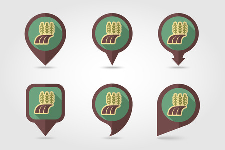 barley field: Ears of Wheat, Barley or Rye on field flat mapping pin icon with long shadow