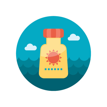 sun tan: Sunscreen vector flat icon outline isolated