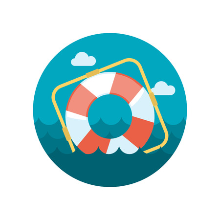 rescue circle: Lifebuoy flat icon with long shadow